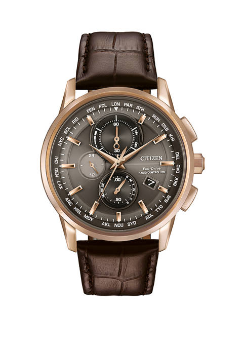 Citizen Mens World Chronograph A-T Brown Leather Strap