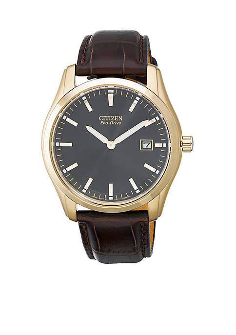 Citizen Eco-Drive Mens Rose Gold Tone Leather Strap