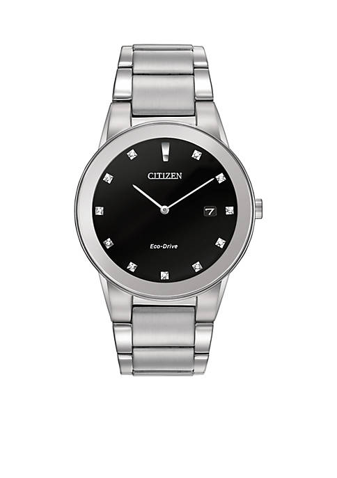 Citizen Eco-Drive Mens Silver-Tone Axiom Watch