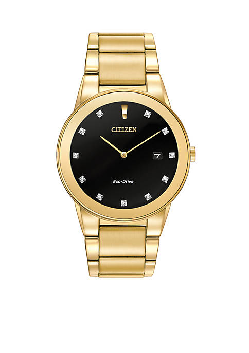 Citizen Eco-Drive Mens Gold-Tone Axiom Watch