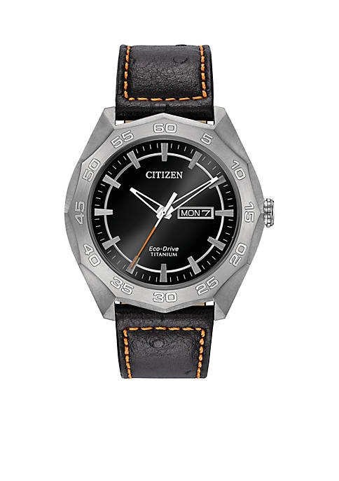 Mens Silver-Tone Titanium Citizen Eco-Drive Watch