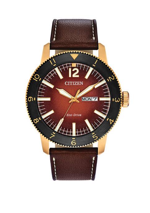 Citizen Brycen Mens Brown Leather Strap Watch