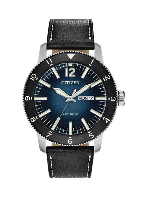 Citizen Mens Brycen Black Leather Strap Watch