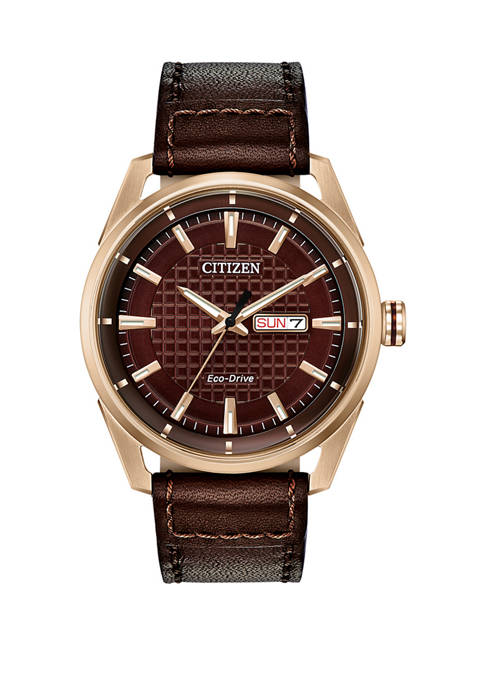 Mens Drive Brown Leather Strap Watch
