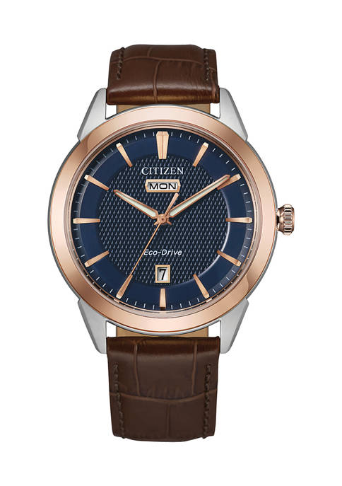Citizen 40.5 Millimeter Rose Gold Stainless Steel Leather