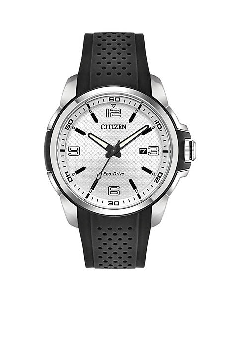 Citizen Mens Stainless Steel Eco-Drive Polyurethane Strap Watch