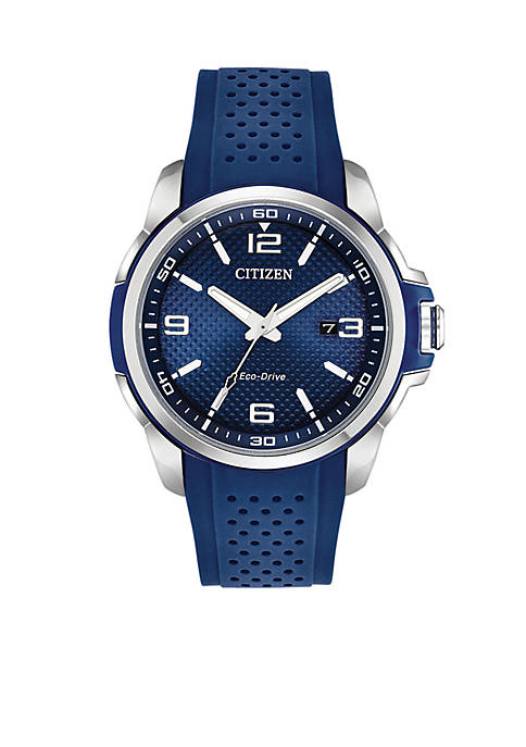 Citizen Stainless Steel Eco-Drive Blue Strap Watch