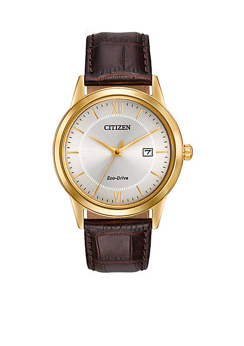 Eco-Drive Gold-Tone Stainless Steel Leather Dress Watch
