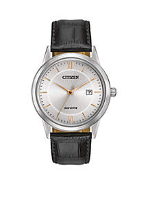 Citizen Eco-Drive Men's Black Leather Strap Watch