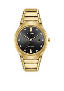 Men's Gold Stainless Steel Eco Drive Bracelet Watch