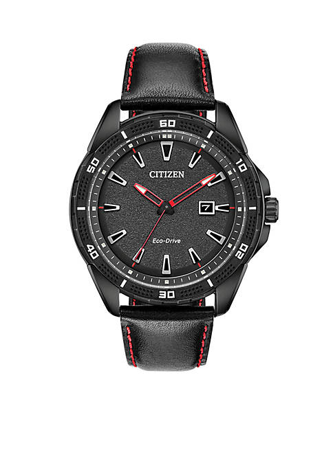 Citizen Mens Stainless Steel Eco-Drive AR-Action Leather Strap