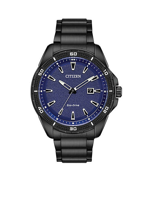 Citizen Mens Black Stainless Steel Eco-Drive Bracelet Watch