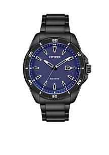 Men's Black Stainless Steel Eco-Drive Bracelet Watch