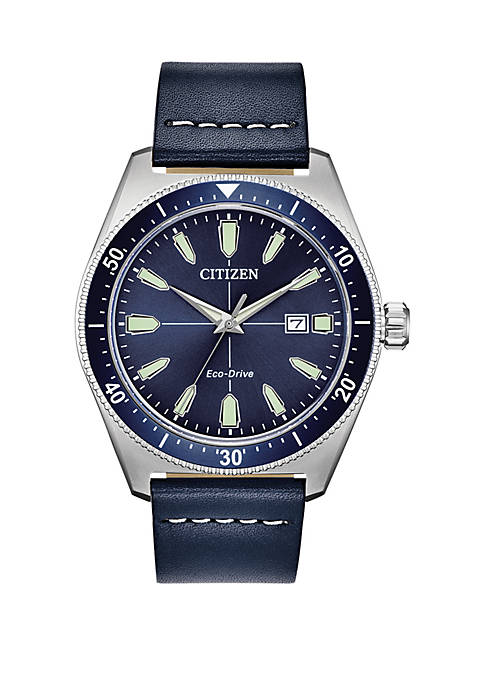 Mens Sainless Steel Eco Drive Brycen Blue Leather Strap Watch 43 mm