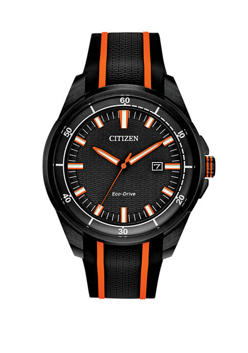 Citizen Drive Mens Black/Orange Strap Watch