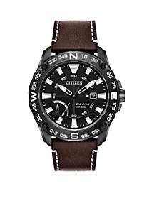 Men's Eco-Drive PRT Brown Leather Sport Watch
