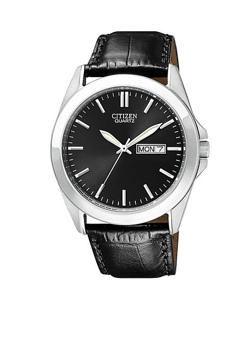 Mens Stainless Steel Leather Strap Watch