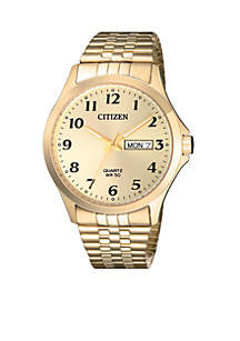 Men's Gold-Tone Stainless Steel Quartz Watch With Date