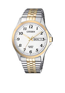 Men's Two-Tone Stainless Steel Quartz Watch With Date