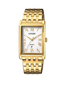 Men's Quartz Gold-Tone Stainless Steel Bracelet Watch