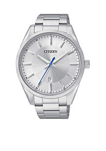 Citizen Men's Quartz Silver-Tone Stainless Steel Three Hand Basic Watch
