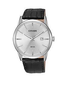 Men's Black Leather Strap Quartz Watch