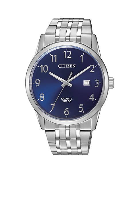 Mens Citizen Quartz Stainless Steel Watch