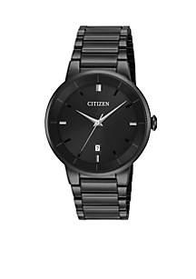 Men's Black Stainless Steel Quartz Watch