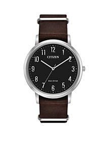 Men's Stainless Steel Eco Drive Leather Strap Watch