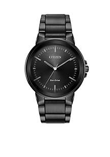 Citizen Grey Ion-Plated Stainless Steel Eco-Drive Axiom Black Dial Watch