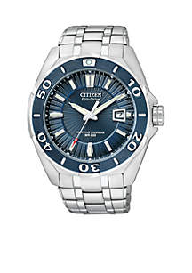 Men's Eco-Drive Signature Blue Ion Plated Bezel Watch