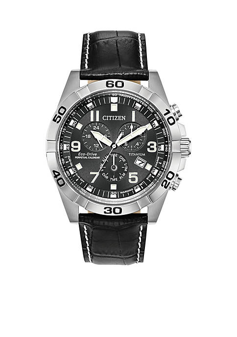 Citizen Mens Stainless Steel Eco-drive Brycen Leather Strap