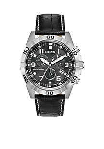 Men's Stainless Steel Eco-drive Brycen Leather Strap Watch