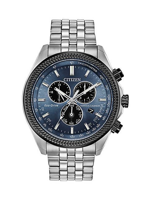 Mens Stainless Steel Eco Drive Perpetual Calendar Chronograph Watch