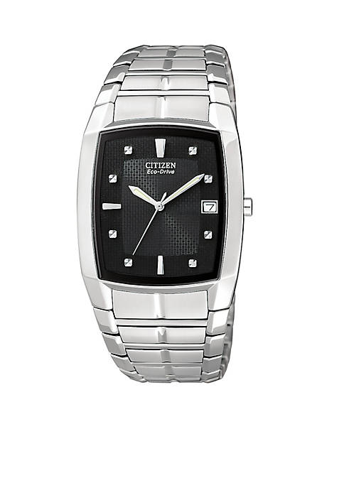 Citizen Eco-Drive Mens Black Crystal Watch