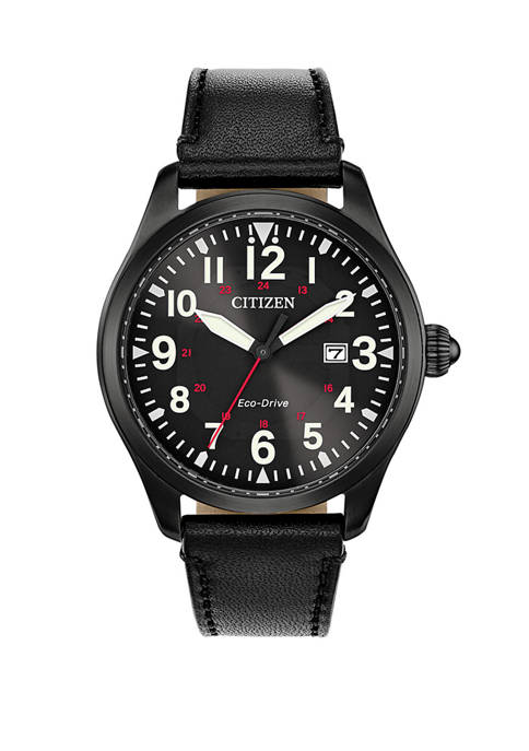 Citizen Garrison Mens Black Leather Strap Watch