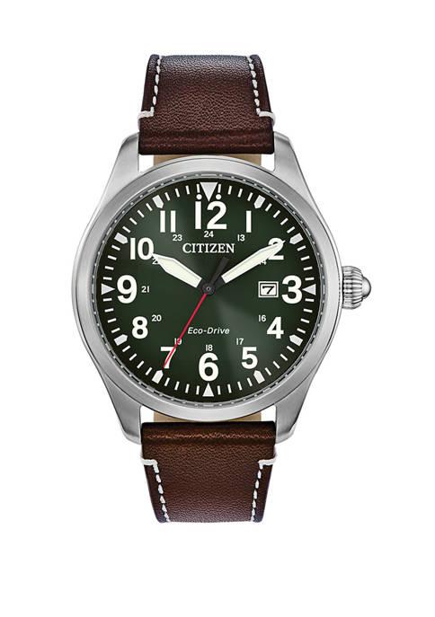 Citizen Mens Garrison Brown Leather Strap Watch