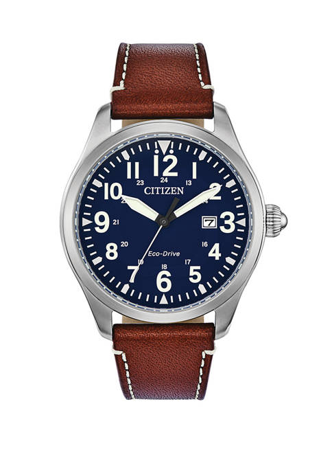 Citizen Garrison Mens Brown Leather Strap Watch