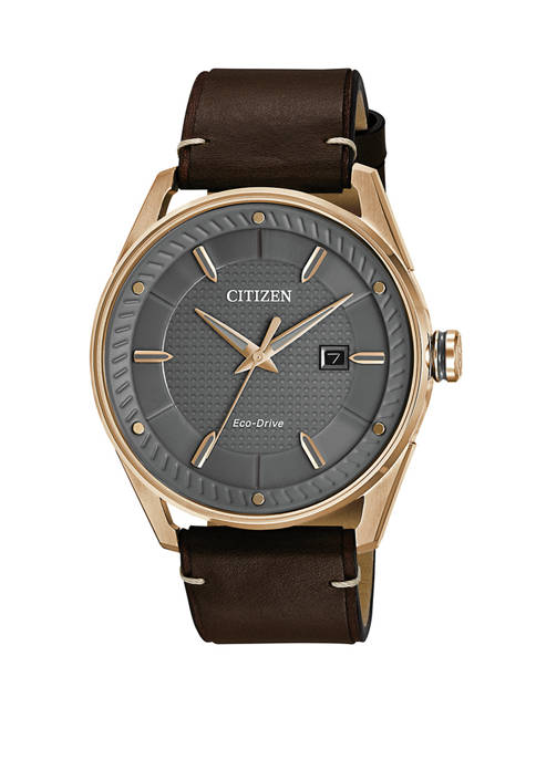 Citizen Drive Mens Brown Leather Strap Watch