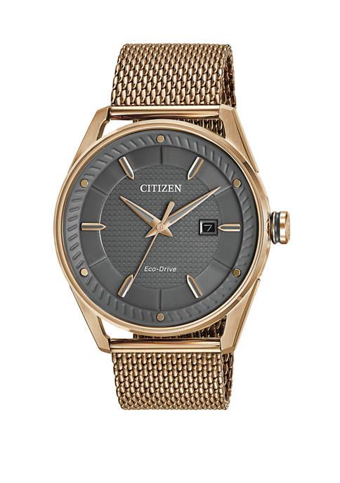 Citizen Drive Mens Rose Gold-Tone Mesh Bracelet Watch