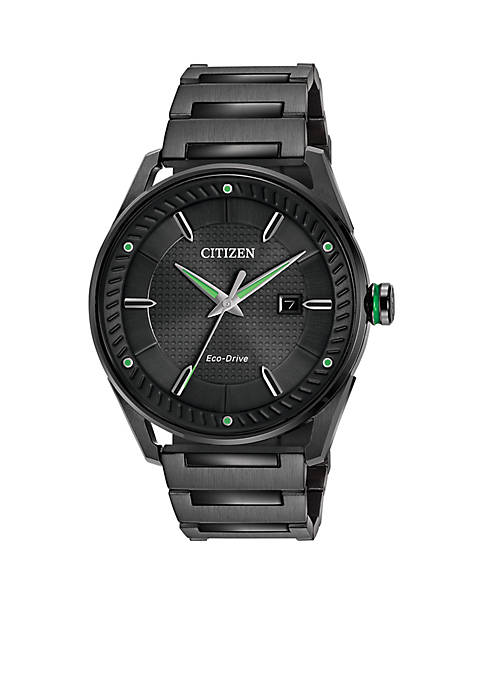 Mens Black Stainless Steel Citizen Eco-Drive Watch
