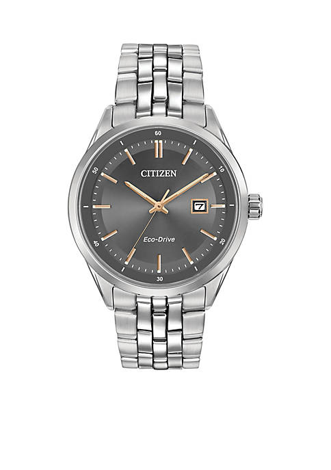Mens Silver-Tone Stainless Steel Citizen Eco-Drive Watch