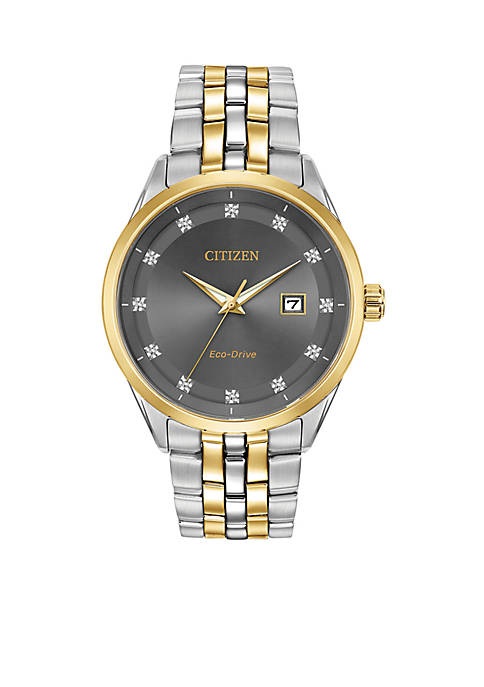 Mens Two-Tone Stainless Steel Eco-Drive Corso Watch With Date