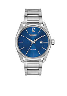 Men's Silver-Tone Stainless Steel Eco-Drive With Date Watch