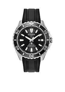 Citizen Men's Citizen Eco-Drive Stainless Steel Watch with Date and Black Polyurethane Strap