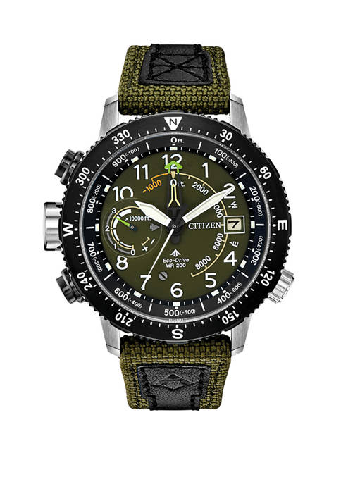 Citizen Promaster Altichron Mens Khaki Green Strap Watch