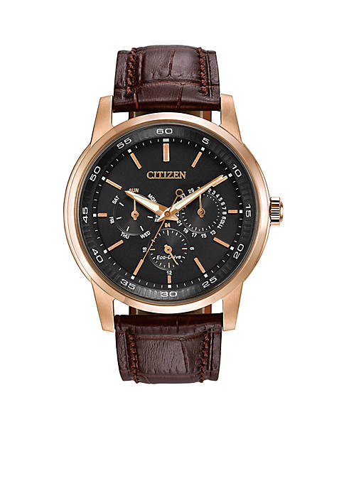 Mens Eco-Drive Rose Gold Tone Stainless Steel Dress Watch