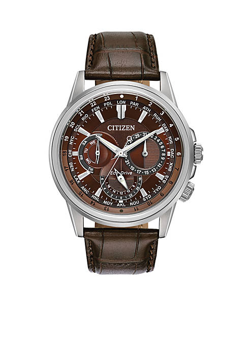 Stainless Steel Eco-Drive Calendrier Brown Leather Strap Watch