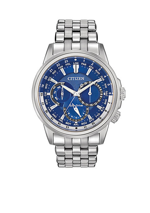 Eco-Drive Stainless Steel Blue Dial Calendrier Watch