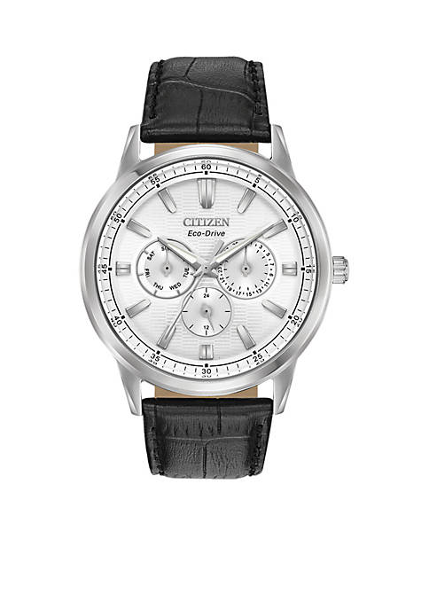 Citizen Mens Stainless Steel Eco-Drive Corso Leather Strap